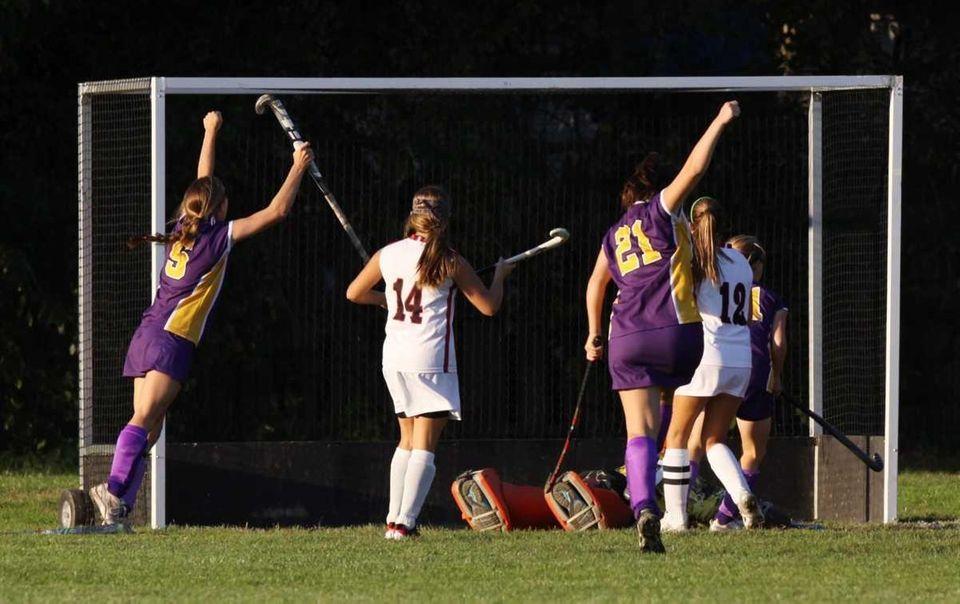 Sayville celebrates their game winning goal against East