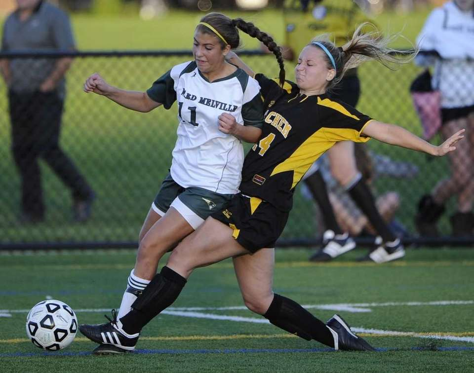 Sachem North defender Chelsea Burns, right, defends against
