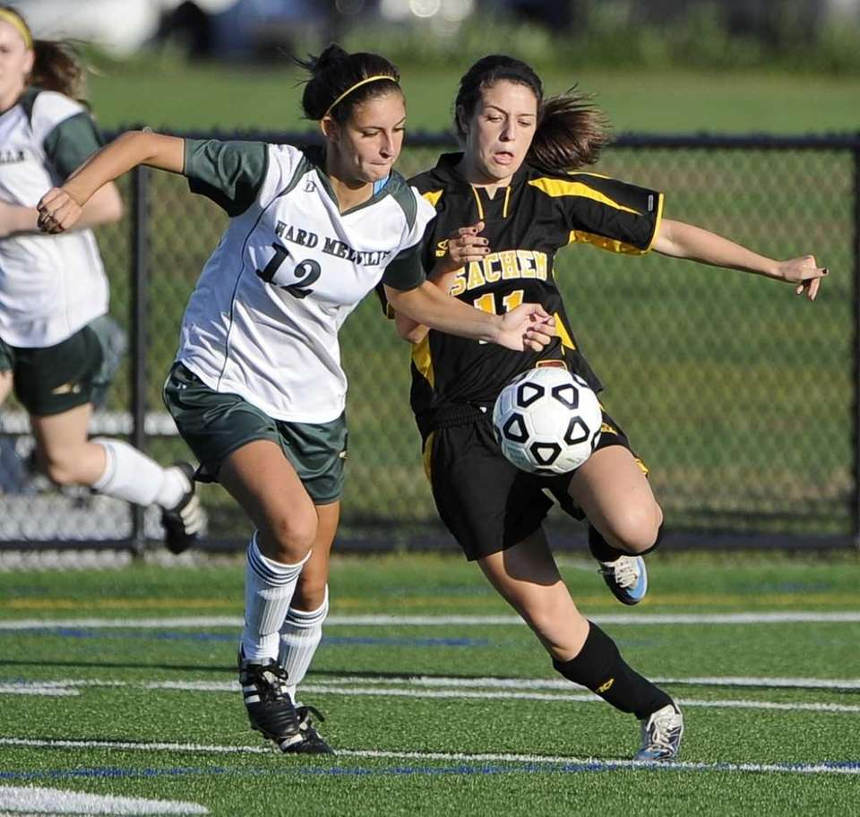 Sachem North's Melissa Michels, right, and Ward Melville's