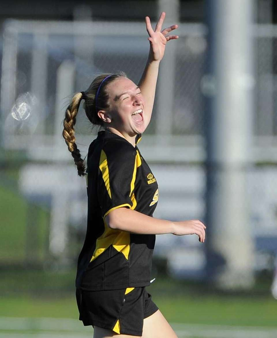 Sachem North midfielder Emily Jones reacts after scoring