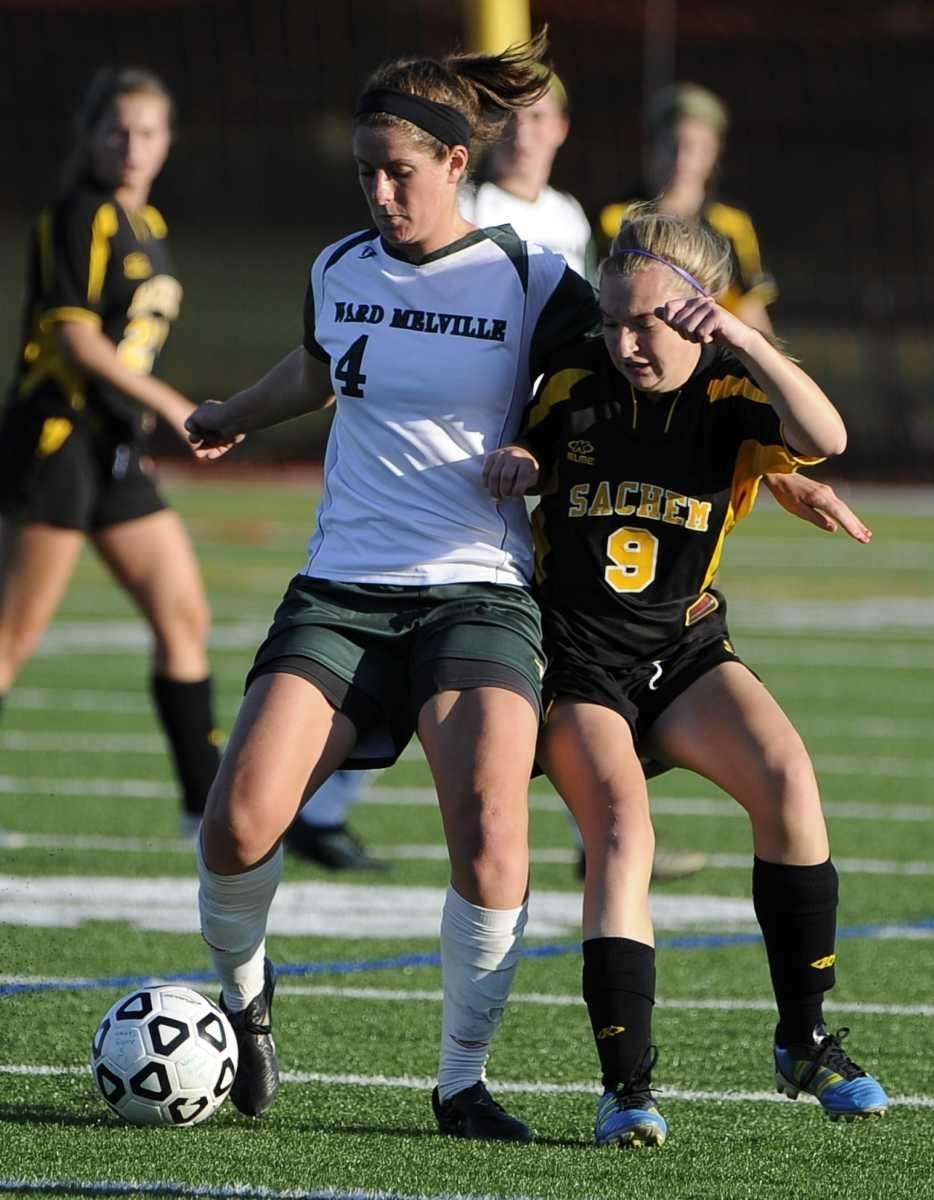Sachem North's Emily Jones, right, and Ward Melville's