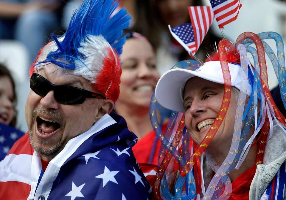Supporters laugh prior to the Women's World Cup