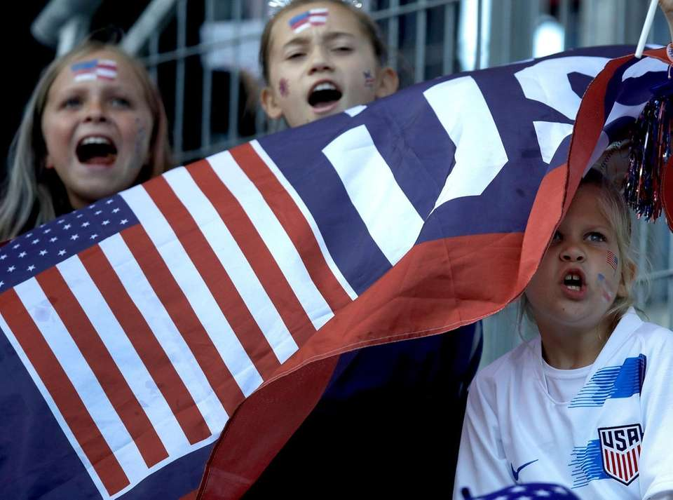 Supporters cheer prior to the Women's World Cup