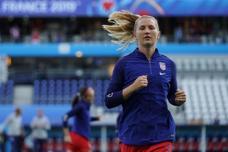 United States' midfielder Sam Mewis warms up prior