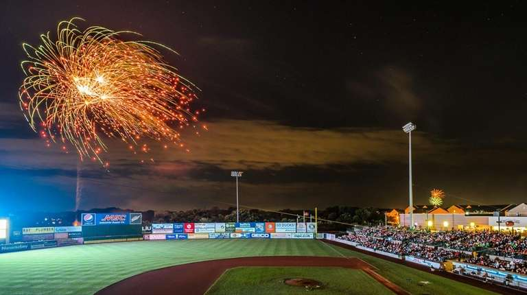 Fireworks at a Long Island Ducks game at