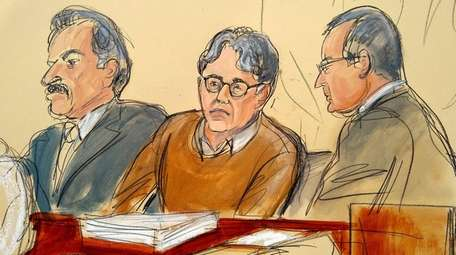 In a courtroom drawing, defendant Keith Raniere (center),
