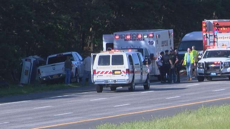 Emergency responders at the scene of the crash