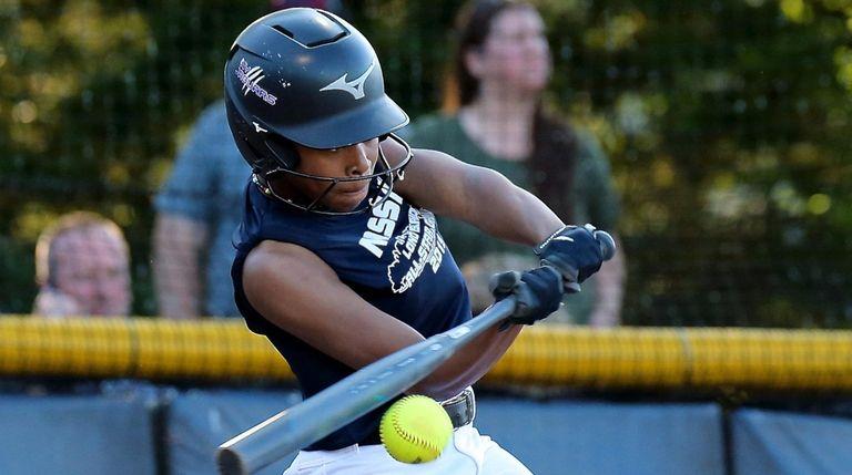 Nassau All-Star Akemi Poyer bats against the Suffolk