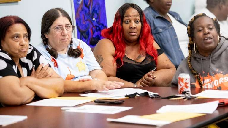 Wyandanch residents on Tuesday express their concerns over