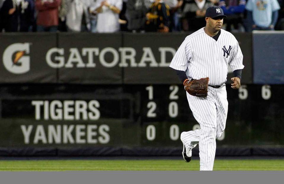New York Yankees' CC Sabathia, No. 52, enters