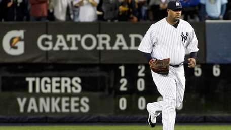 New York Yankees' CC Sabathia, No. 52, enters