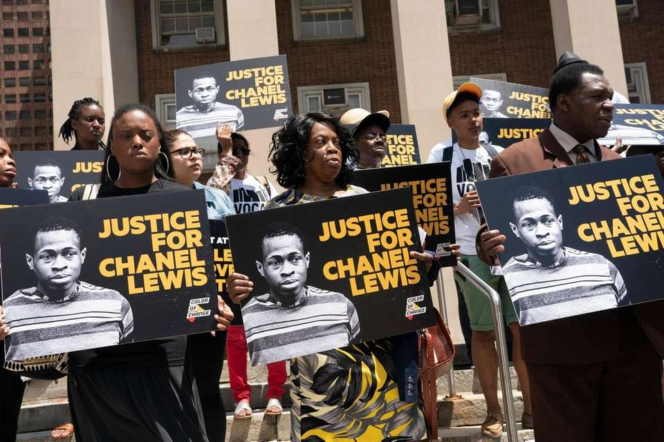Supporters of Chanel Lewis and his mother, Veta,