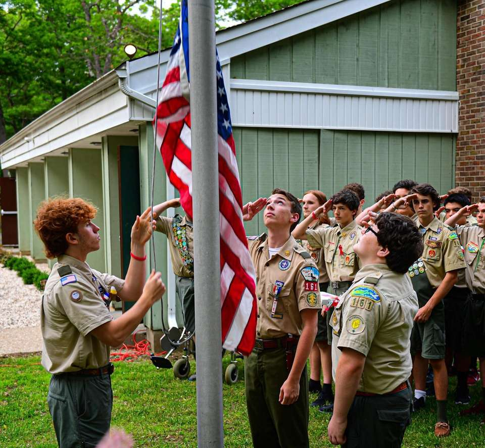 Eagle Scout Joseph Pozgay, left, along with members