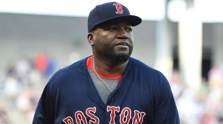 Red Sox designated hitter David Ortiz before a