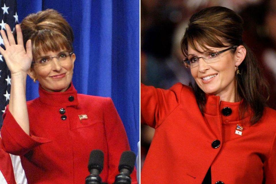 Tina Fey, left, and Sarah Palin.