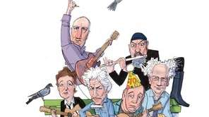 Aging rockers, left from rear, Pete Townshend and