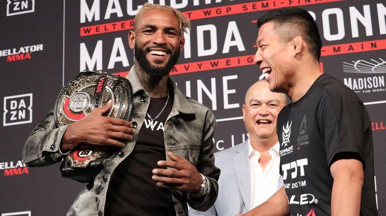 Darrion Caldwell and Kyoji Horiguchi laugh during Bellator