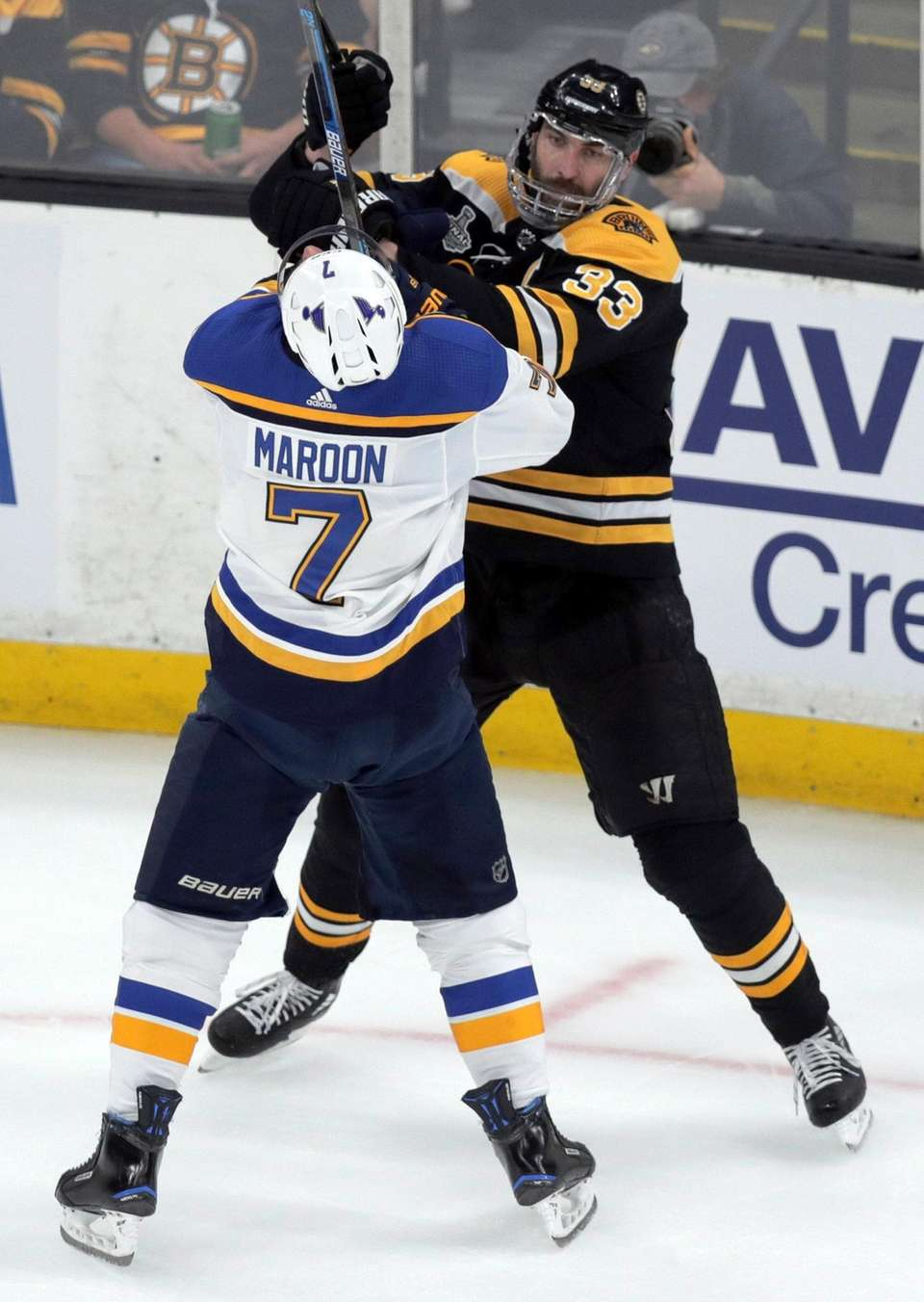 St. Louis Blues' Pat Maroon tangles with Boston