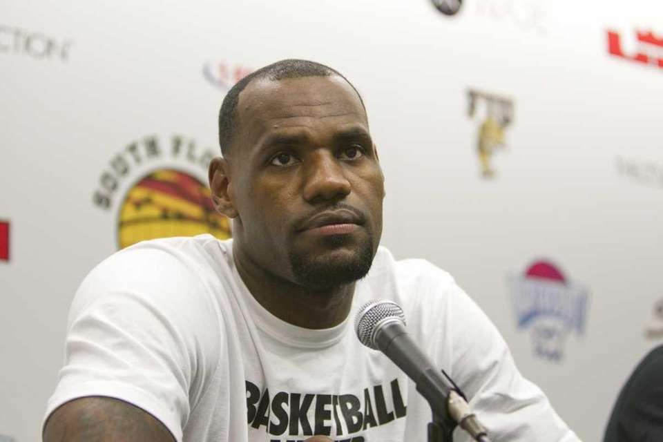 Miami Heat's LeBron James talks about the charity