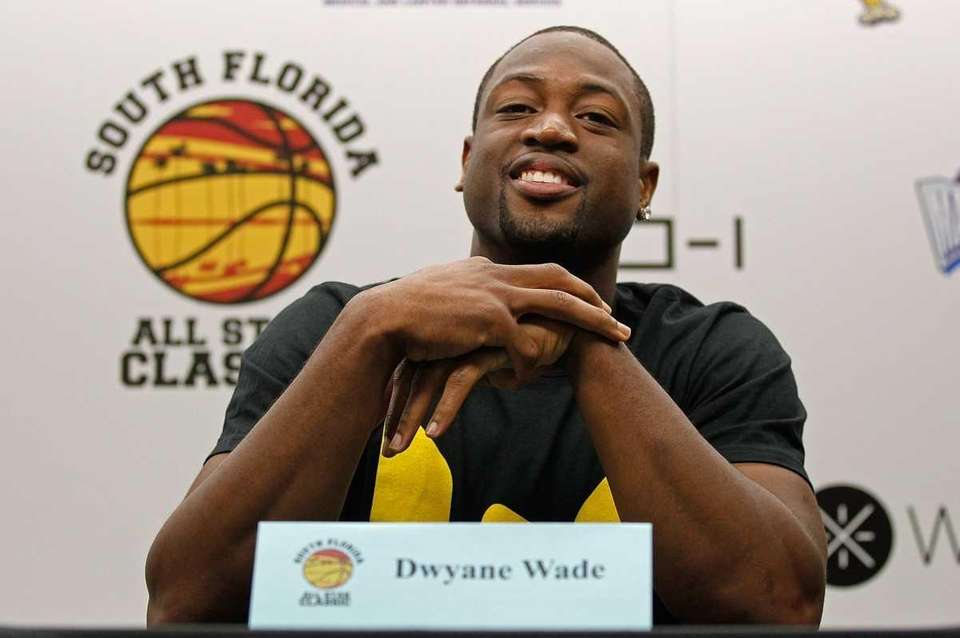MIAMI, FL - OCTOBER 08: Dwyane Wade talks