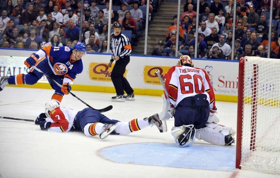 John Tavares of the Islanders takes a shot