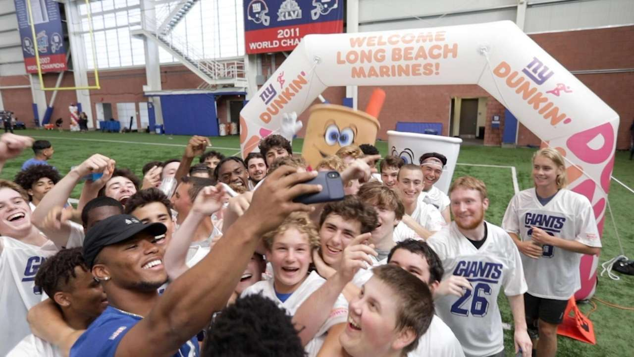 Giants running back Saquon Barkley, in partnership with Dunkin',