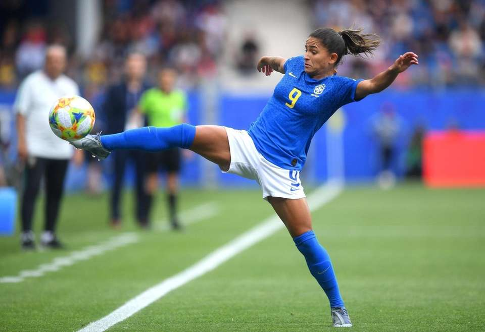 Debinha of Brazil controls the ball during the