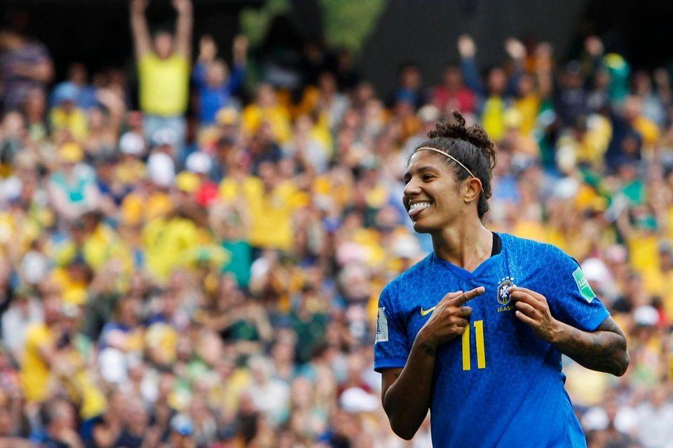 Brazil's Cristiane celebrates after scoring her side's second
