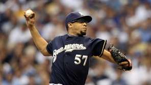 Francisco Rodriguez throws a pitch against the St.