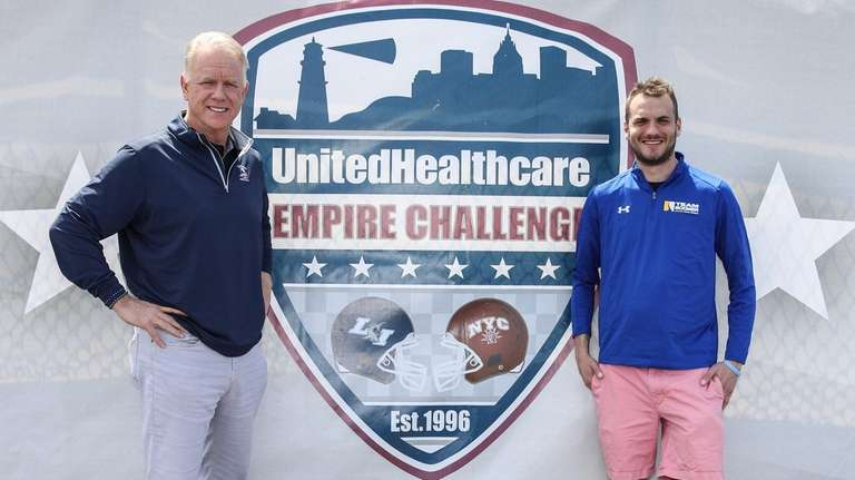 Boomer and Gunnar Esiason pose during preparations the