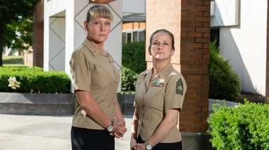 Lindenhurst High School JROTC instructors Christine Glynn, left,
