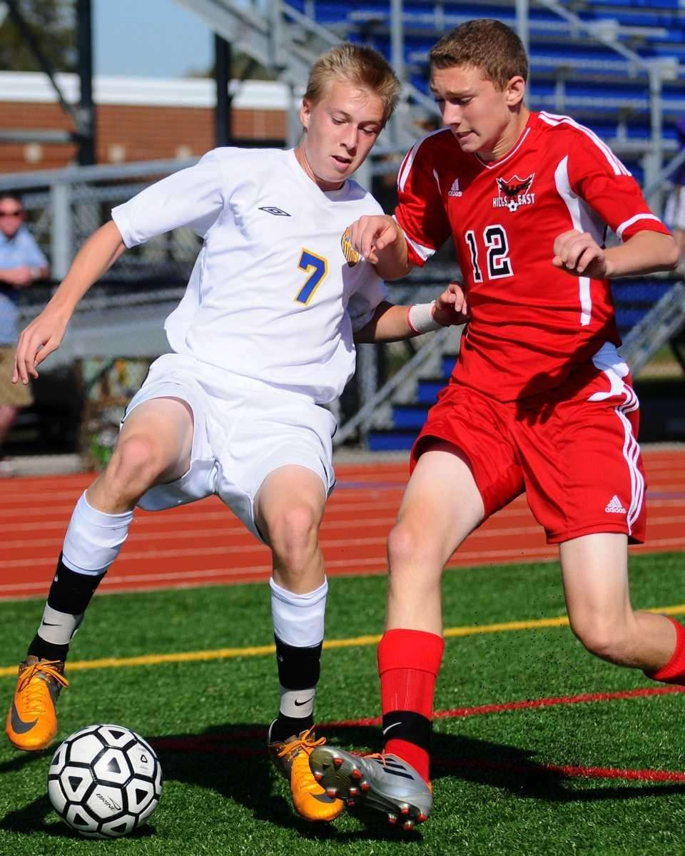 West Islip forward #7 Sean Pepe, left, and