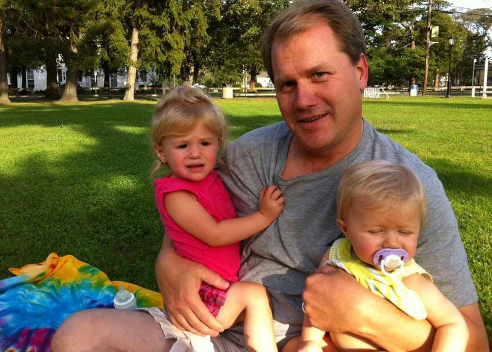 Sean McMulkin of Sayville with daughters Emma, 1,