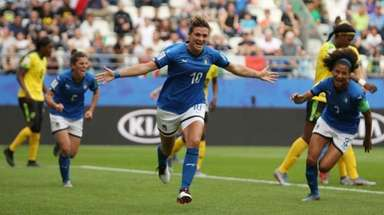 Italy's Cristiana Girelli, center, celebrates after scoring her