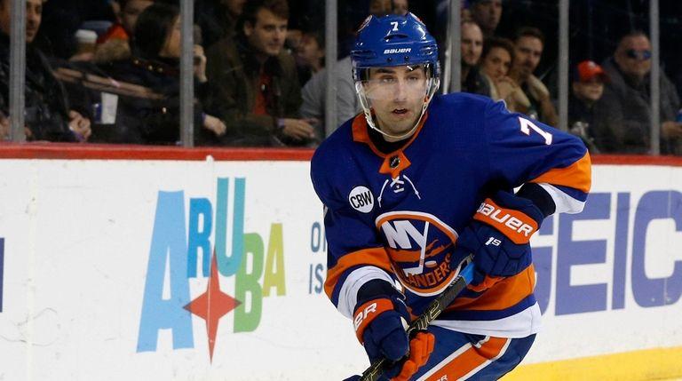 Jordan Eberle of the Islanders skates against the
