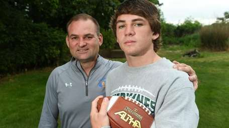 Westhampton football player Liam McIntyre and his father