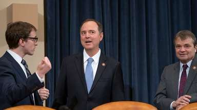 House Intelligence Committee Chairman Adam Schiff (D-Calif.), center,