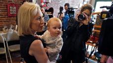 Democratic presidential candidate Sen. Kirsten Gillibrand (D-N.Y.) holds