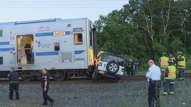 An LIRR train hit a motor vehicle on