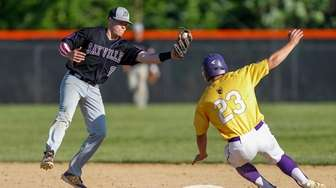 Sayville's Jack Davis makes the play against Ballston