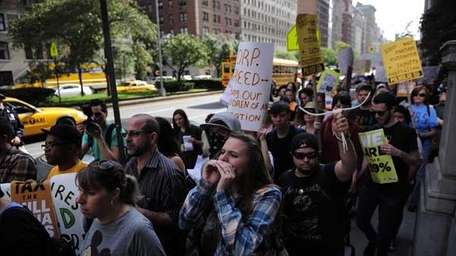 Occupy Wall Street protestors stage a