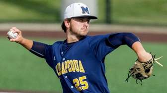 Massapequa's Bobby Conlon pitches against Shenendehowa during a
