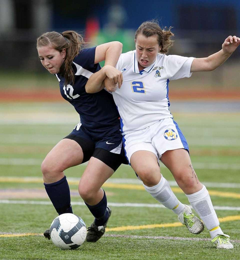 Northport's Ashlee Burke (12) and West Islip's Kelsey