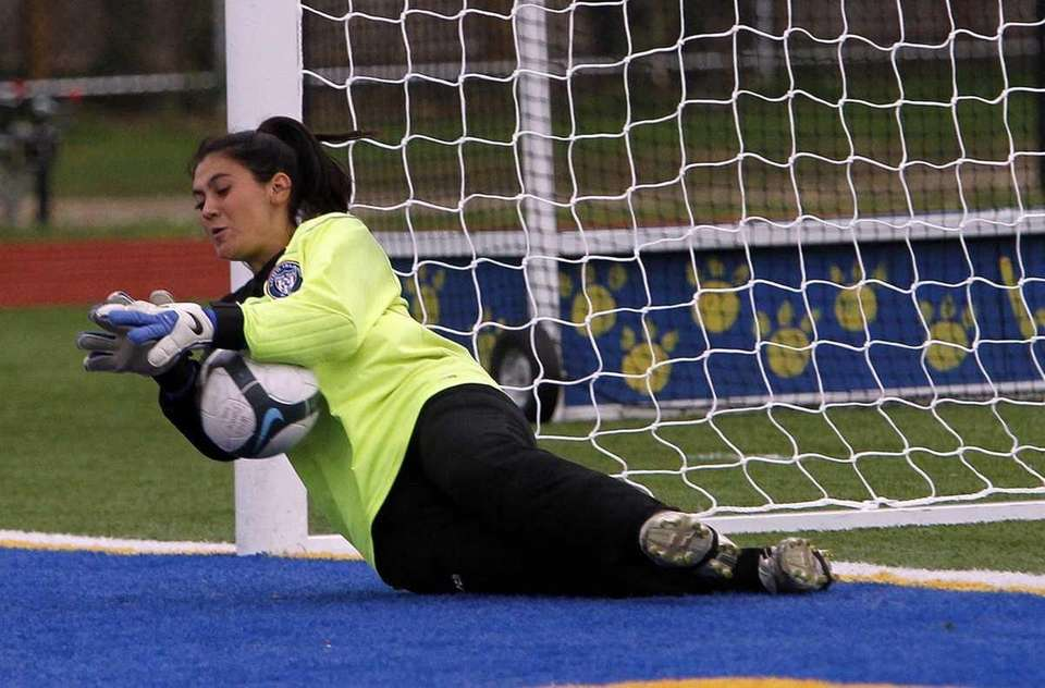 Northport keeper Jessica Rom snares a direct kick