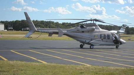 Helicopter flying into East Hampton Airport on June