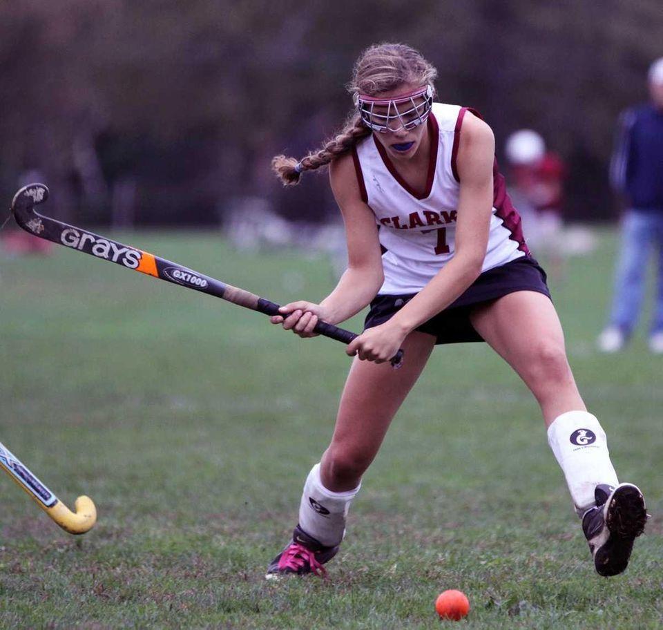 Clarke's Nicole Zaino clears the ball down field