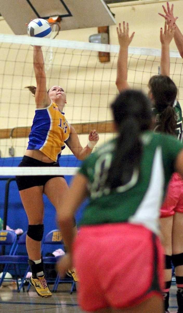 West Islip's Erin Brynes #13, puts the shot