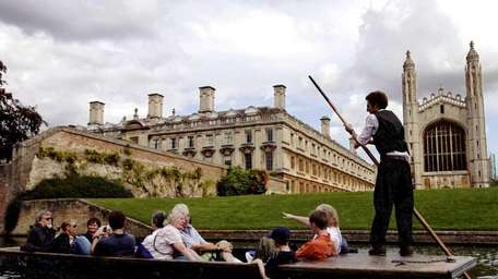 Tourists enjoy a spectacular views of King's College