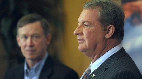 Arrow chief executive Michael Long, right, with Colorado