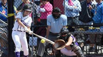Sayville's Mallory Kinahan (1) bats against Ballston Spa